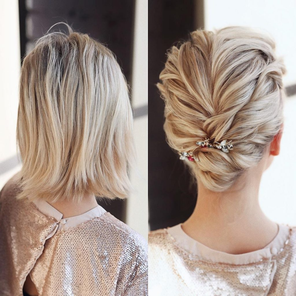 Gorgeous Wedding Hairstyles Messy Bun For Blond Short Hair Thin Hair Short Wedding Hair Hair Styles Medium Hair Styles