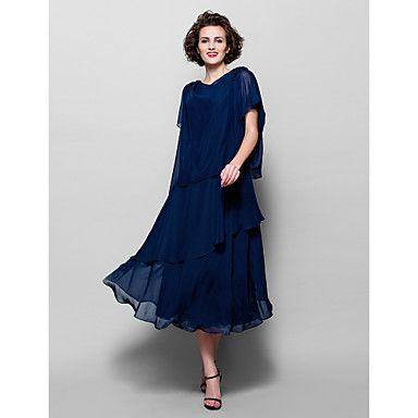Mãe do vestido da noiva - Comprimento Médio Linha-A - Retrato ( Chiffon ) – EUR € 79.99