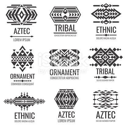 da39d0cd109a1 Mexican aztec symbols. Vintage tribal vector ornaments. Illustration of  traditional native navajo decoration ethnic element