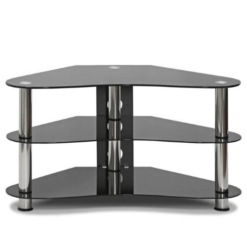 silk screen glass corner tv stand black as shown products rh pinterest com