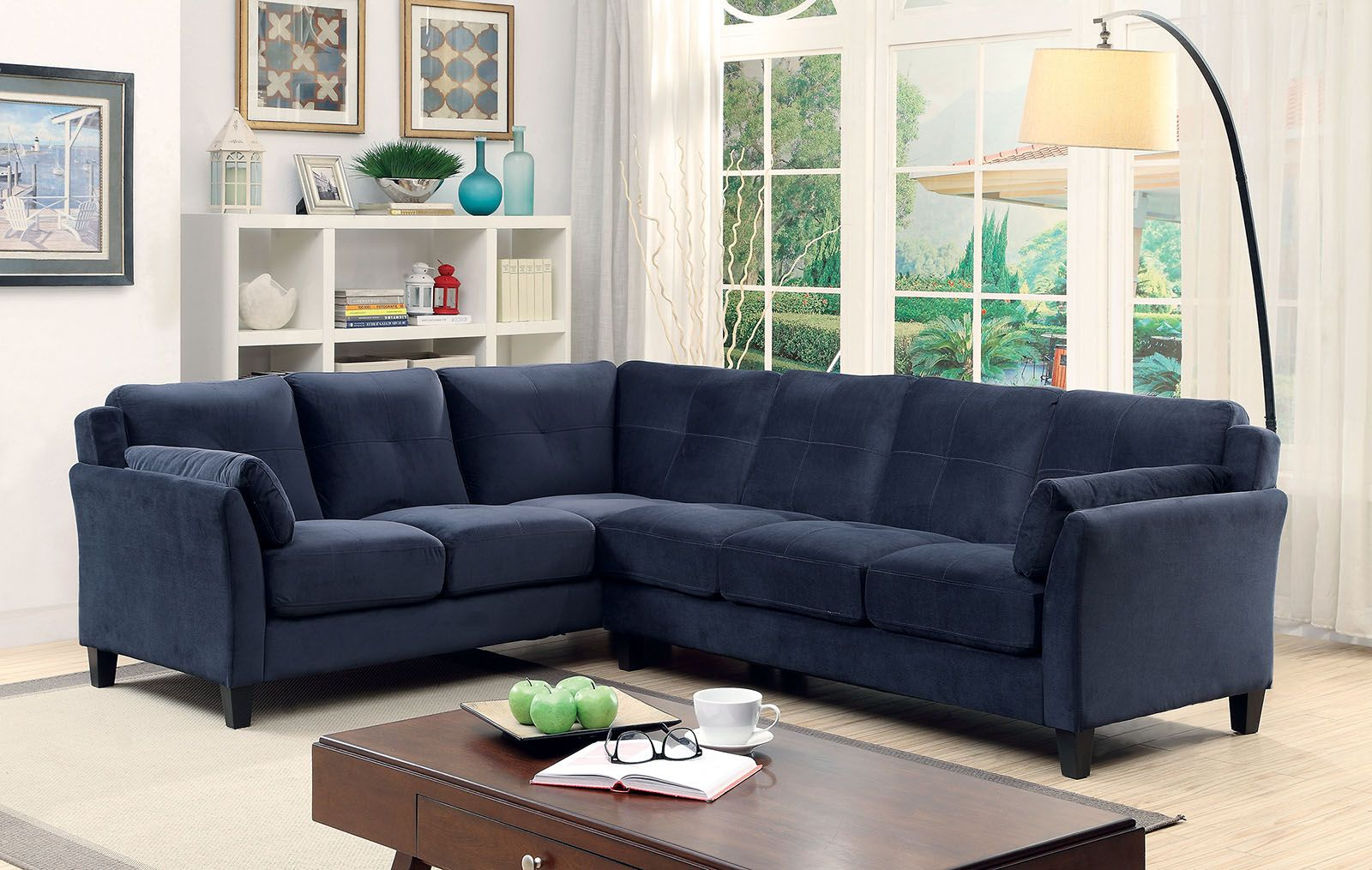 Peever 6368NV Navy Blue Contemporary Sectional Sofa ...
