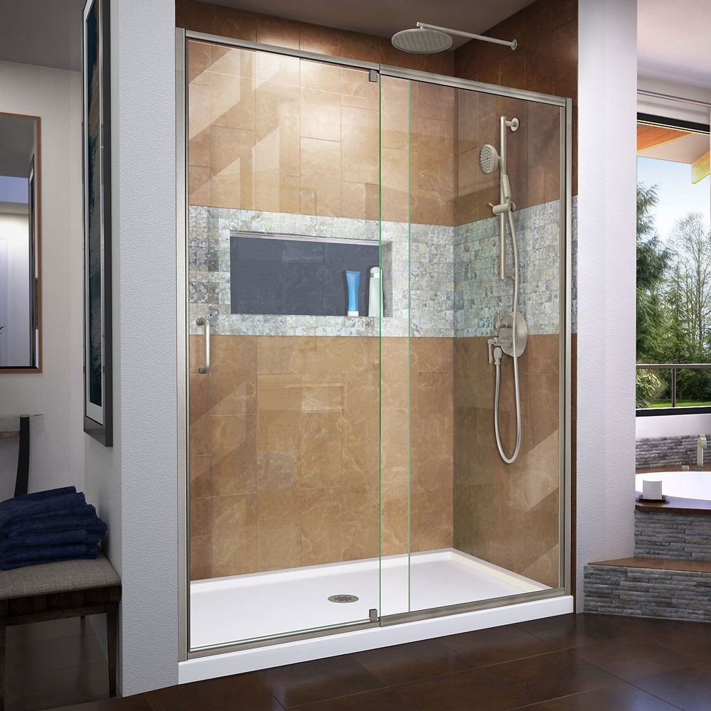 Flex 34 Inch D X 60 Inch W Shower Door In Brushed Nickel With