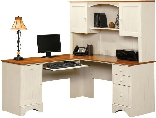 sauder harbor view corner computer desk with hutch antiqued white rh pinterest com