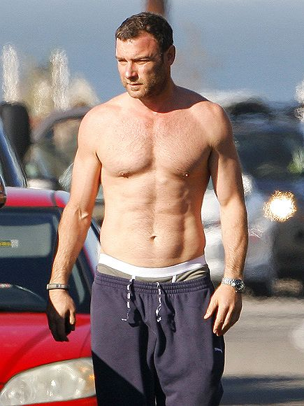 Shirtless Liev Schreiber Hits the Beach with His Much ...