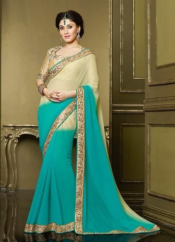 Charming Beige With Blue Shaded Chiffon Indian Dresses ,Indian ...