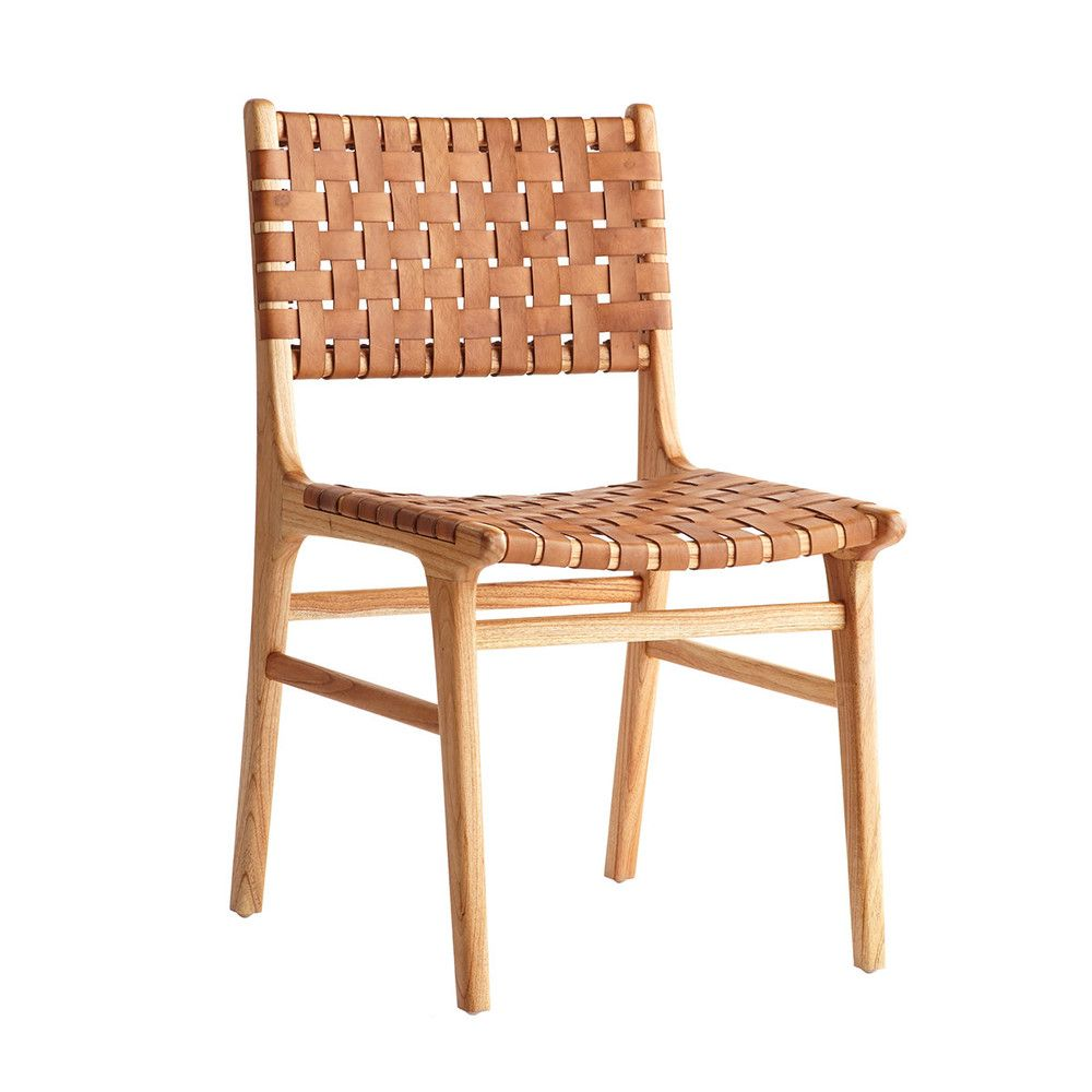Captivating Woven Leather Dining Chair