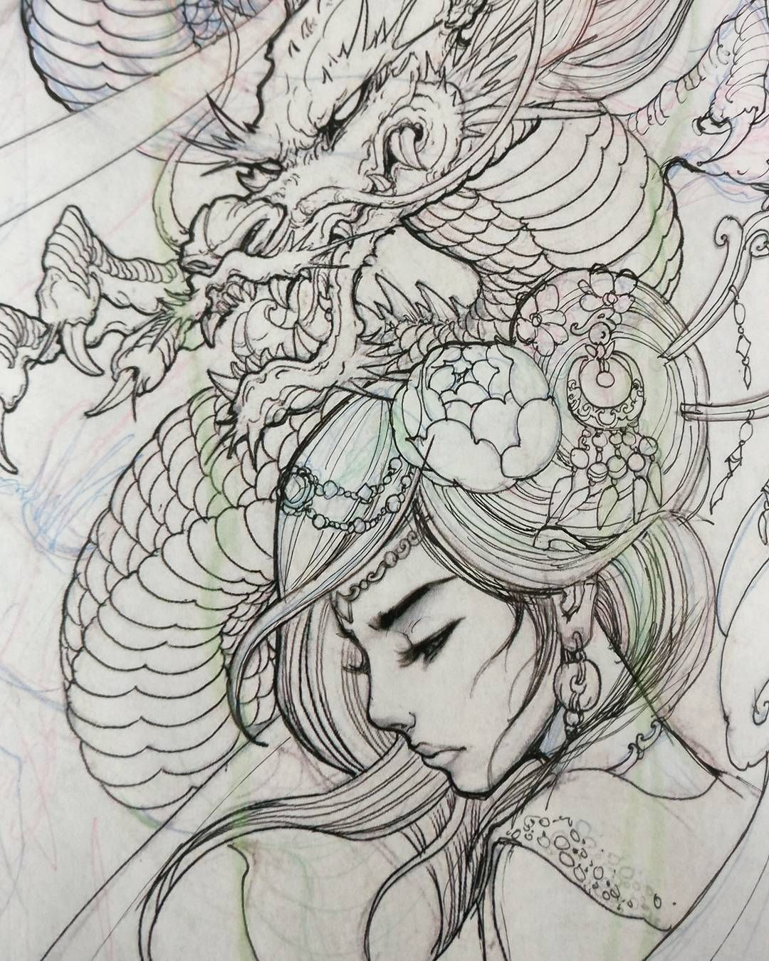 Upcoming Project Sketch Illustration Drawing Irezumi Geisha Dragon Chronicink Asianink Asiantattoo Tattoo Tatuagens De Dragao Japones Tatuagem Gueixa Japonesa E Japan Tattoo