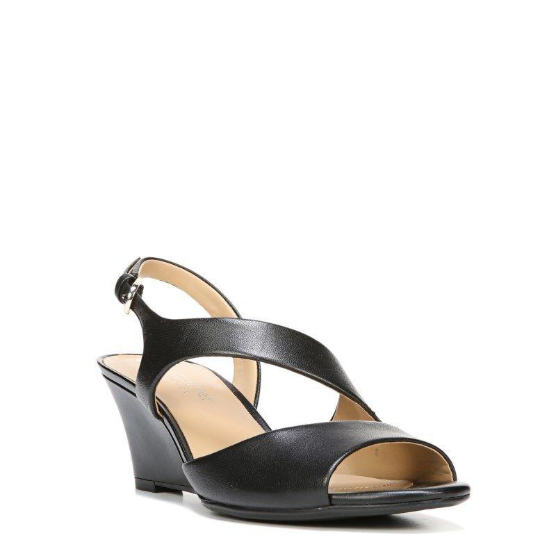 7a13be6d9244 Naturalizer Women s Tonya Medium Wide Wedge Sandals (Black Leather) - 11.0 M