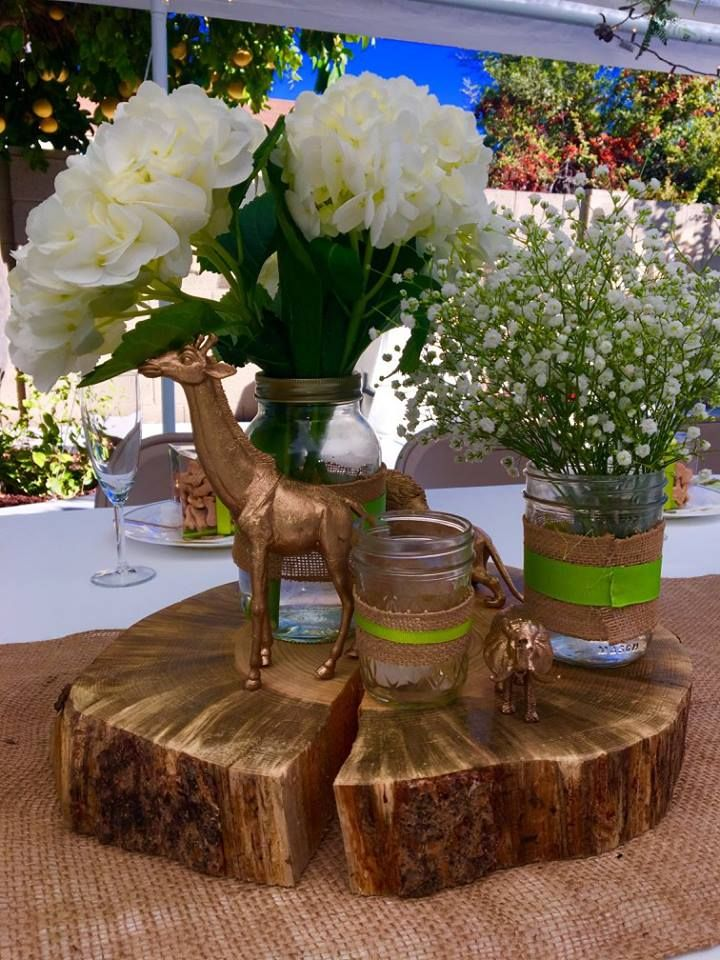 Rustic Wood Slab Centerpiece : Jungle centerpiece baby shower spray painted plastic