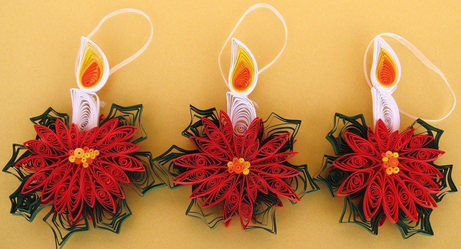 Quilled Christmas Ornaments In The Form Of Burning Candles Quilling Christmas Quilling Craft Quilling Paper Craft
