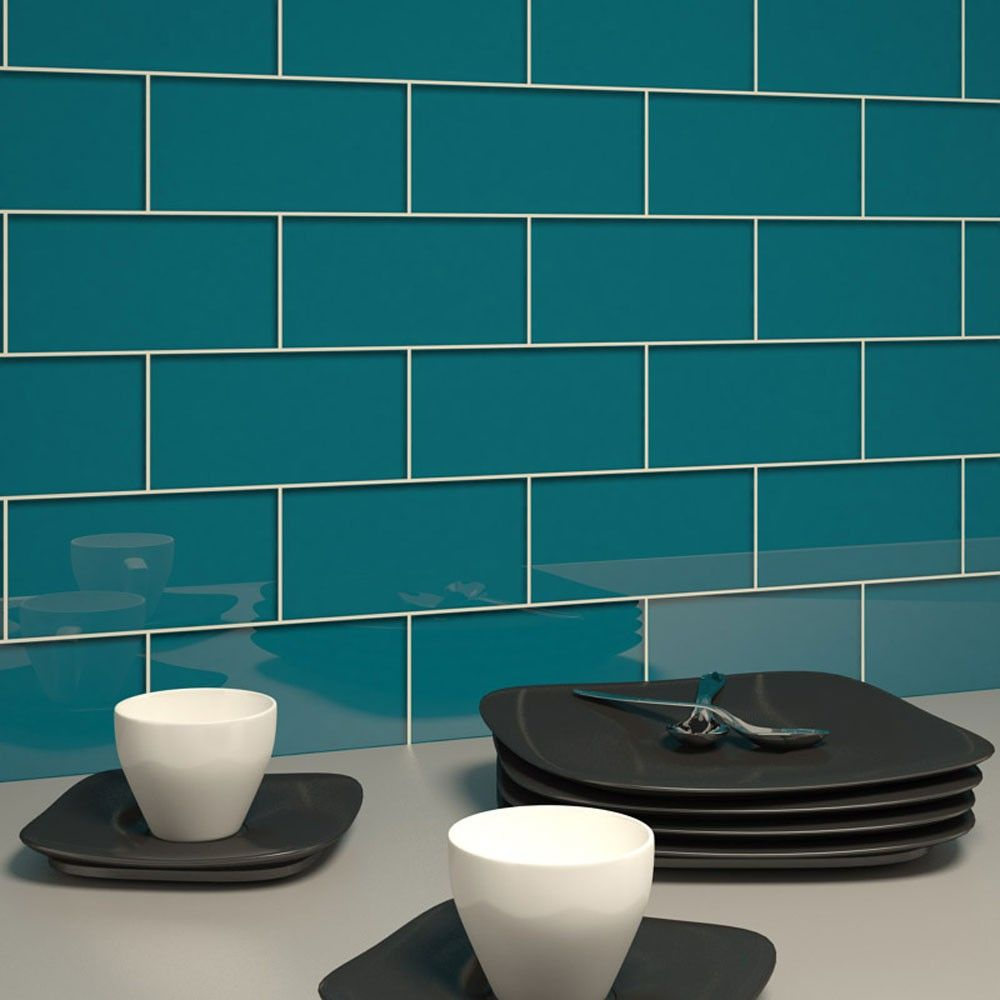 glass subway tile dark teal 3 x 6 piece dark teal
