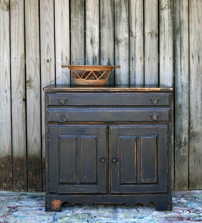 Black Furniture Heavily Distressed Reclaim Beyond Paint Dark Furniture White Painted Furniture Paint Furniture