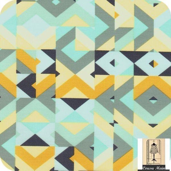 tissu coton g om trique r tro gris moutarde bleu vert ardoise tissu ameublement d co. Black Bedroom Furniture Sets. Home Design Ideas