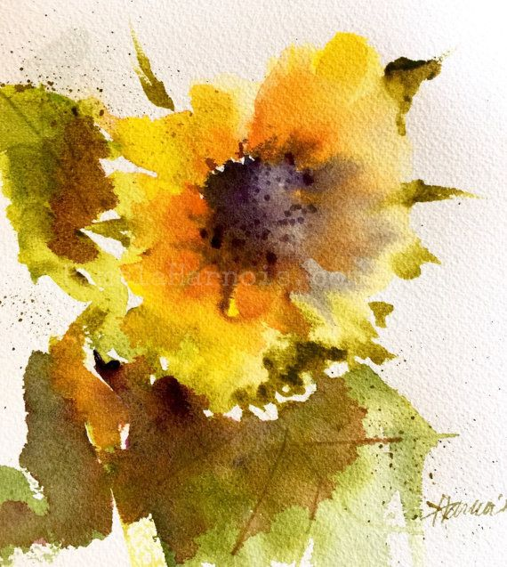 This Listing Is For My Original Sunflower Watercolor Painting