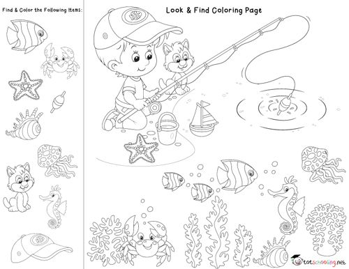 Look & Find Coloring Pages Prewriting Activities Preschool, Hidden  Pictures, Coloring Pages