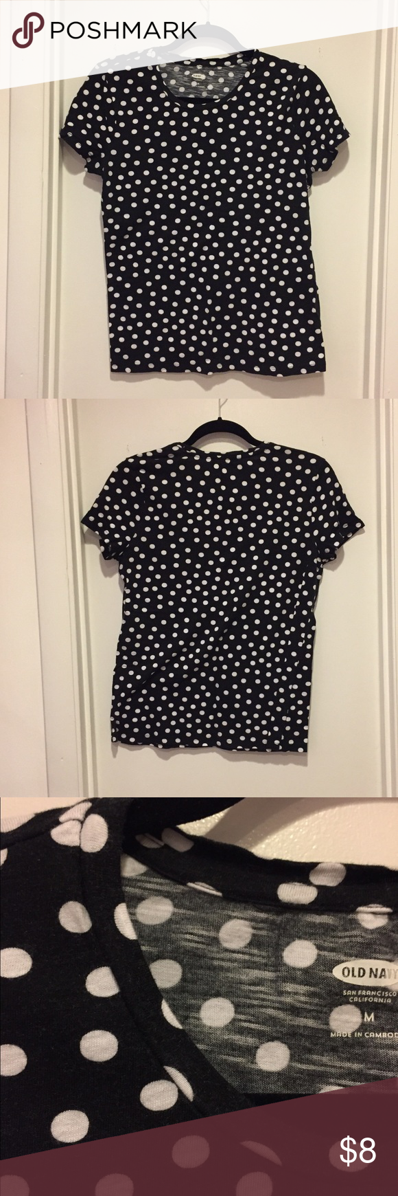 Black and white polka dot tee Black and white polka dot tee. Excellent condition! 60% cotton 40% modal. Old Navy Tops Tees - Short Sleeve