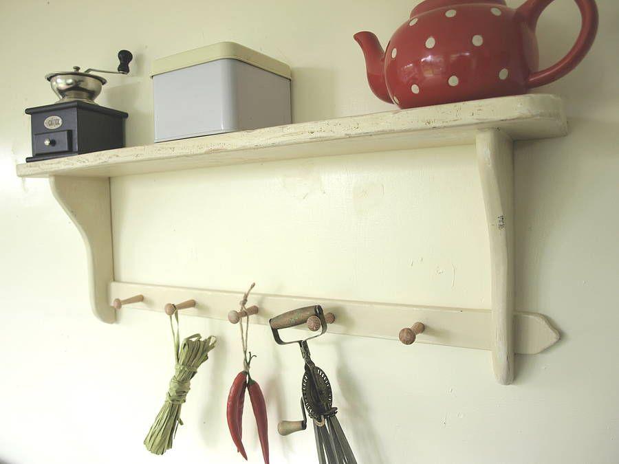 Simple Shaker Style Shelf With Oak Pegs from