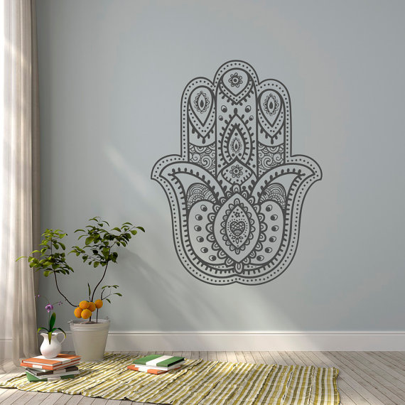 Bohe Mandala Flower Wall Paper Decor Yoga Studio Vinyl: Hamsa Hand Wall Decal- Yoga Wall Decal- Namaste Decal