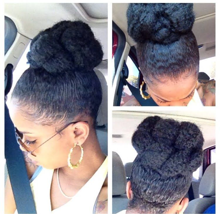 Winter Protective Style High Bun With Marley Braid Natural