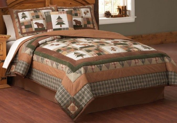 Deer And Cabin Bedspreads And Quilts Moosehead Lodge Rustic