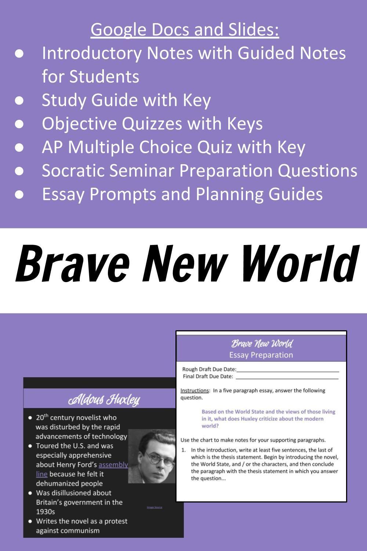 Brave New World Unit For Ap Literature Or British Literature Class Study Guide British Literature Ap Literature
