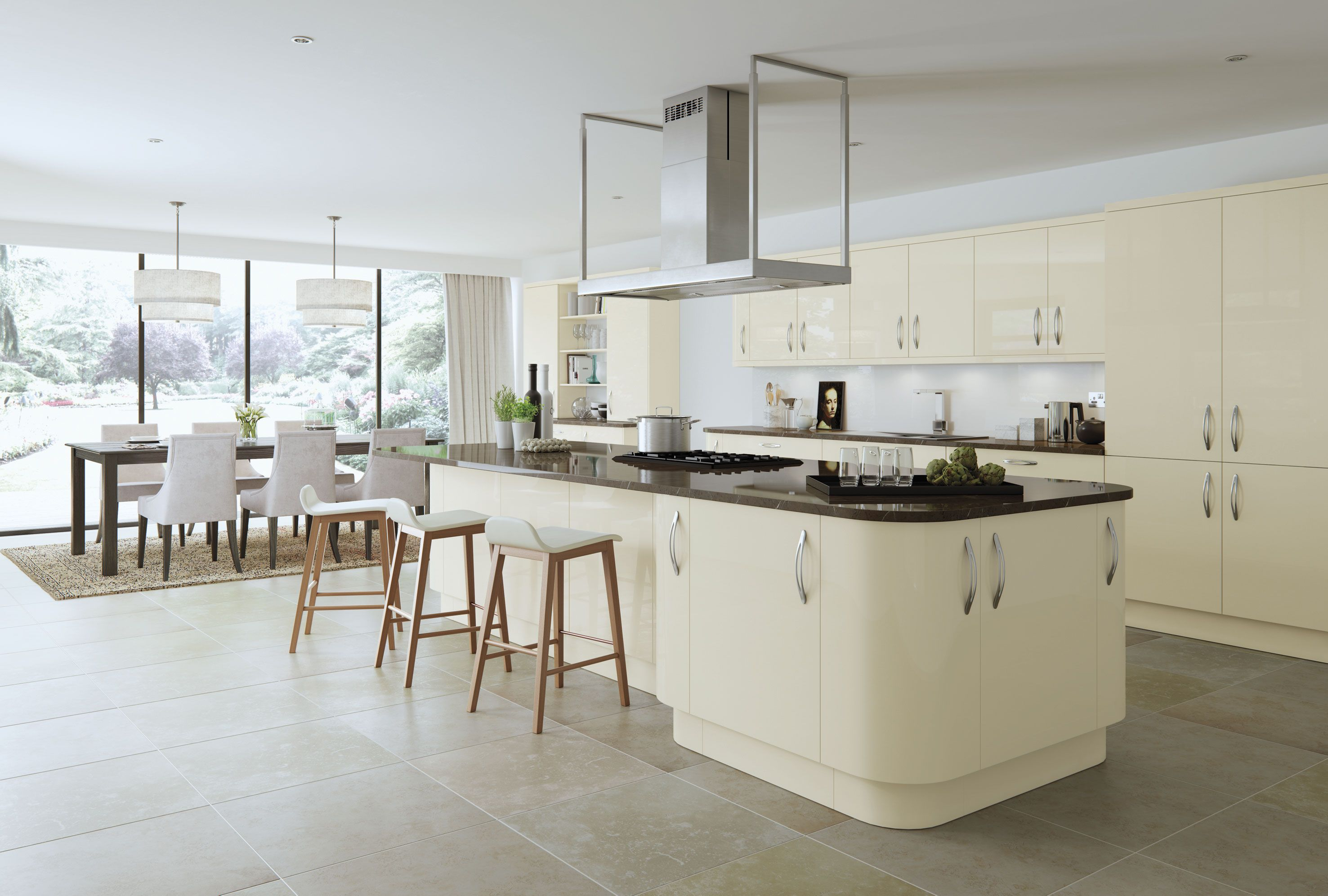 VIVO Ivory, high gloss slab door. | VIVO Kitchen range - High Gloss ...