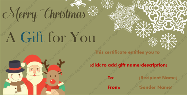 Christmas Gift Template Santa Frosty And Rudolf Design  Merry