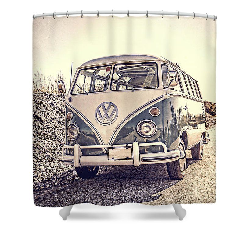 Howdoyoupixels Vintage Surfer Van VW Samba Shower Curtain For The Beach House