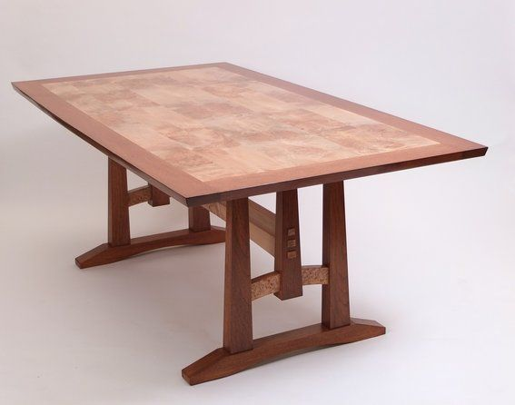 Woodworking Maple And Walnut Table Featuring Bread Board Ends