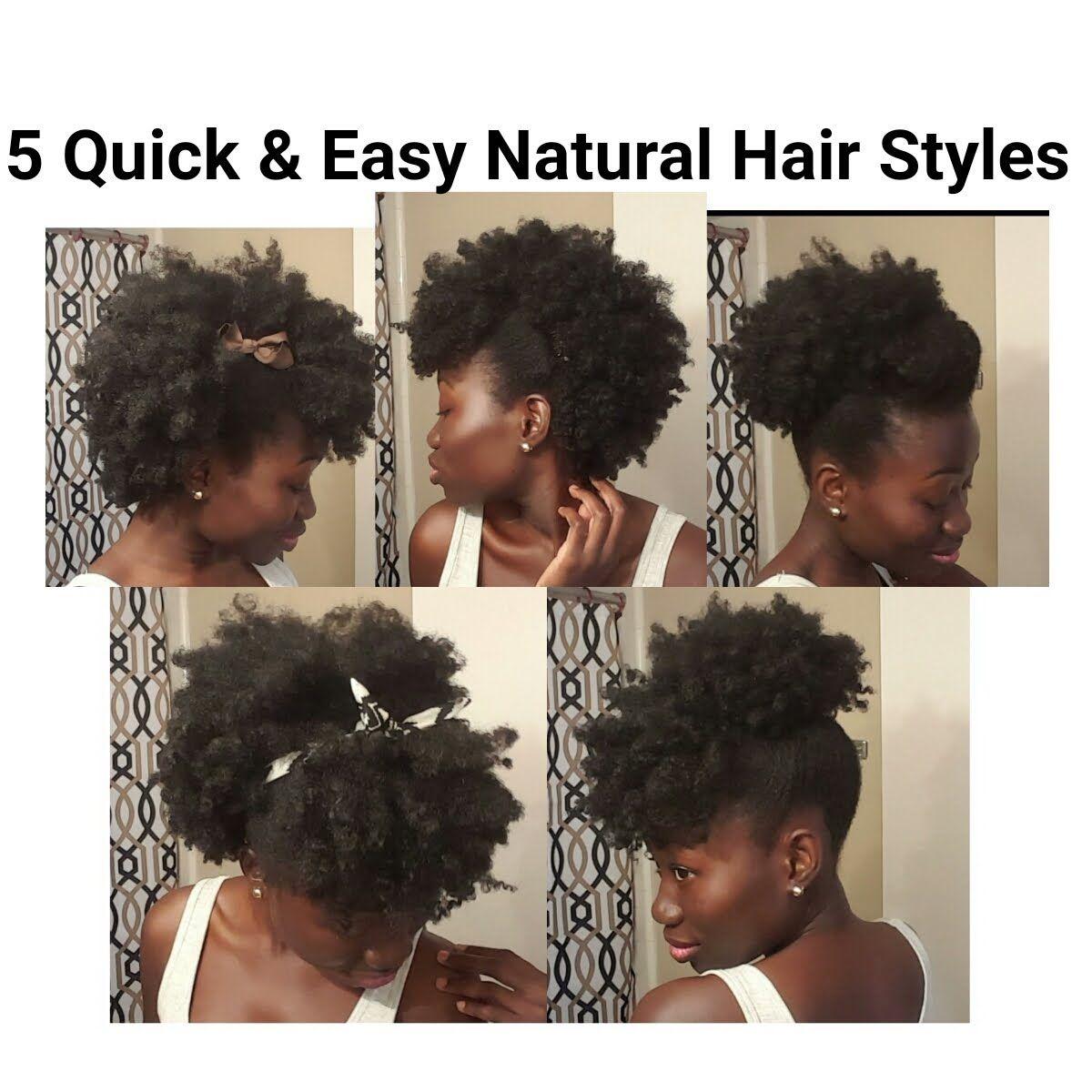 5 quick & easy natural hair styles. short/medium length