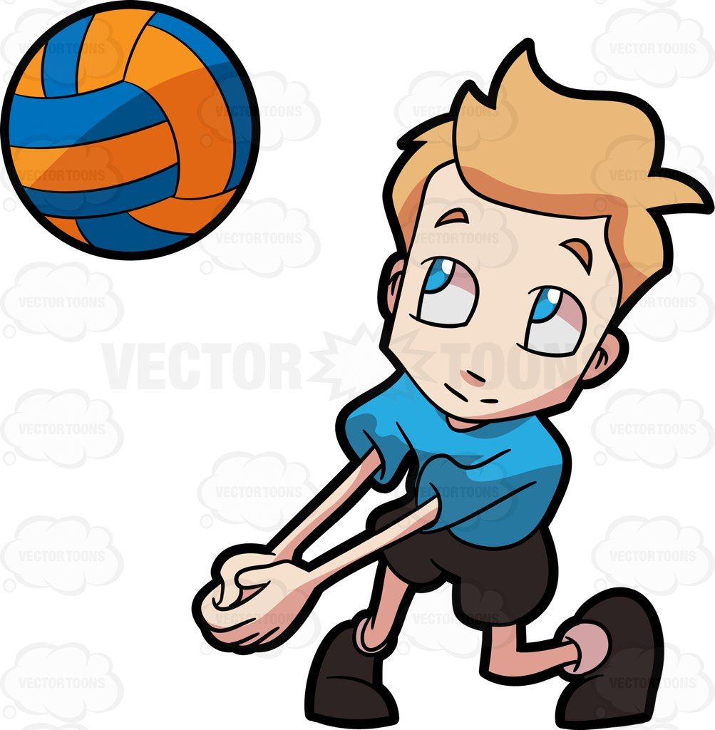 A Boy Playing Volleyball Boys Playing Cartoon Clip Art Volleyball