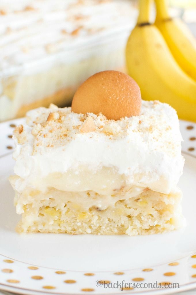 Homemade Banana Cream Pie Poke Cake - This is so easy and amazing (and from scratch!!)