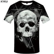 KYKU cráneo camiseta hombres negro espacio fresco geometría 3d impresión  Punk Rock ropa Casual Anime Mens dd167ff09e114