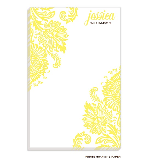 Yellow damask personalized notepad