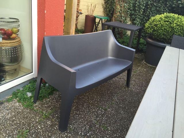 Gartenbank grau-anthrazit aus Kunststoff. | Outdoormöbel ...