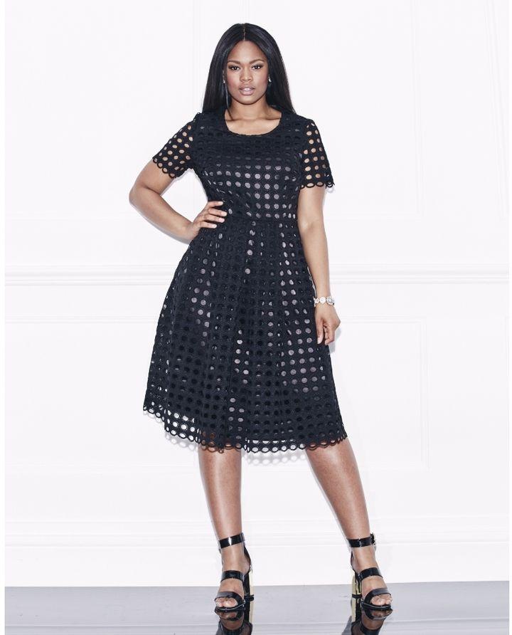 a08c687fd0af Plus Size Crochet Lace Midi Skater Dress - Sizes 8 - 28
