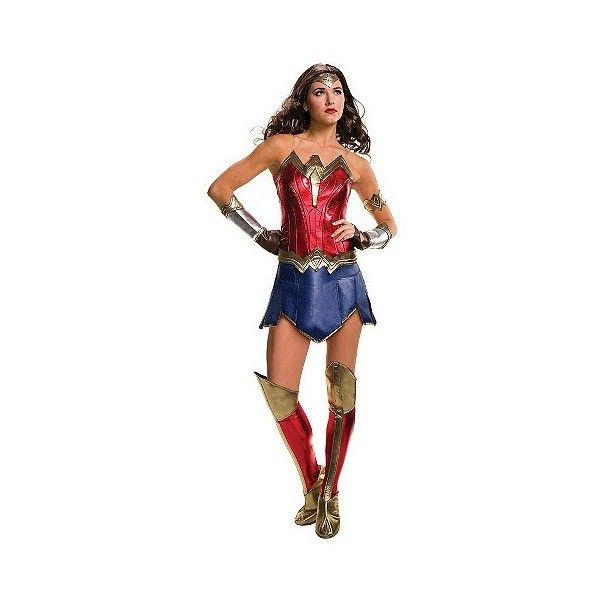 Women's Wonder Woman Costume Justice Costume ($45) ❤ liked on Polyvore featuring costumes, halloween, red, adult costume, cartoon character costumes, adult women costumes, ladies halloween costumes and adult women halloween costumes