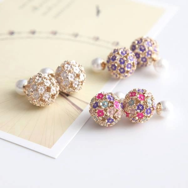 Cute Double Sided Floral Faux Pearl / Crystal Rhinestone Stud Earrings by AionBeauty on Etsy