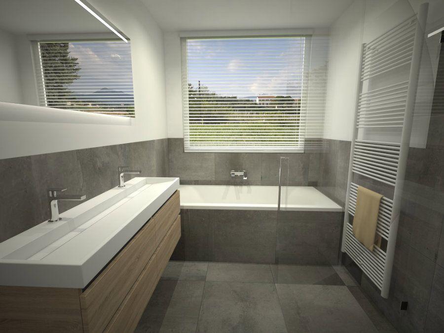 Grote Frisse Badkamer : Badkamer ontwerp met ligbad onder het grote raam zwevend
