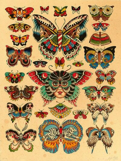 Classic Butterflies Traditional Butterfly Tattoo Butterfly Tattoo Moth Tattoo