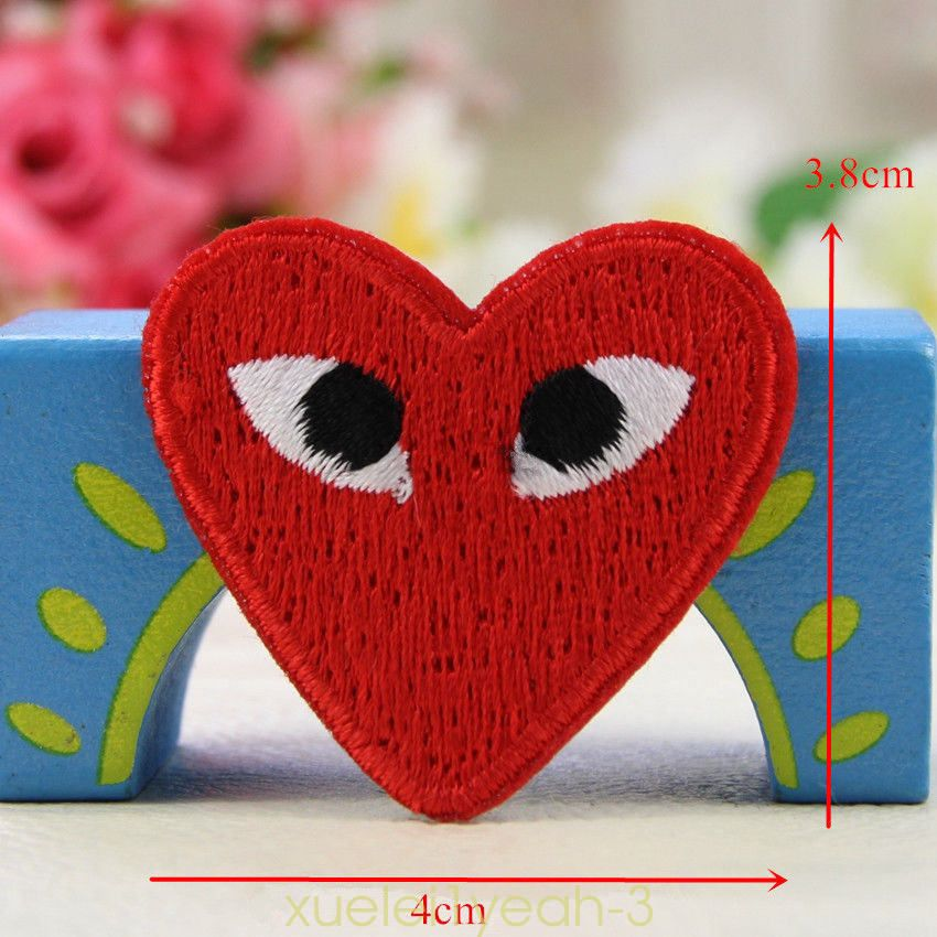 Embroidery Comme Des Garcons Sew Iron On Patch Badge Cdg Play Japan Love Heart Ebay Collectibles Crafts Embroidered Patches Embroidery Patches