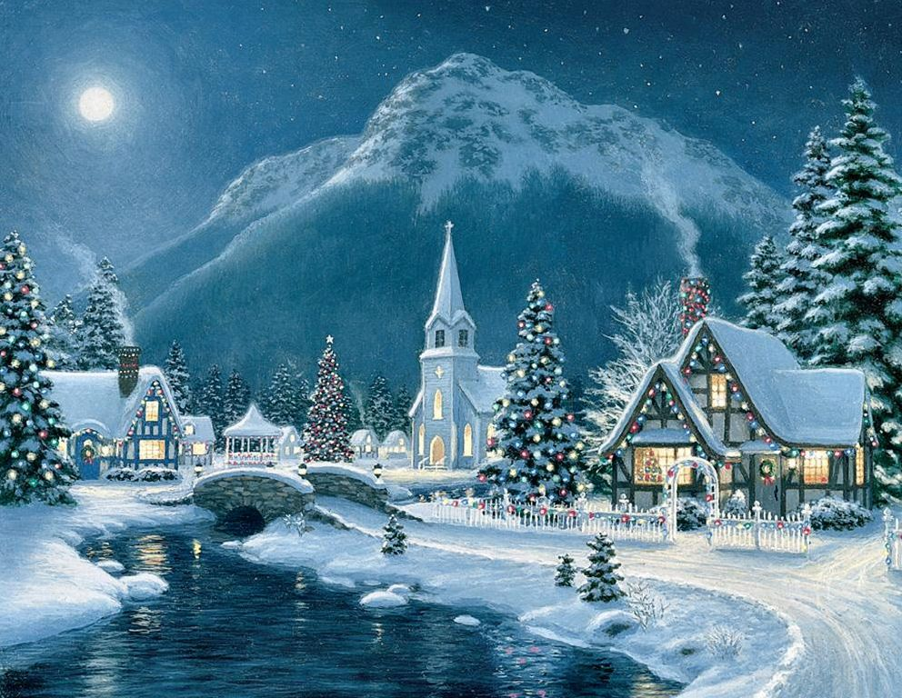 moonlit village by richard burns winter christmas. Black Bedroom Furniture Sets. Home Design Ideas