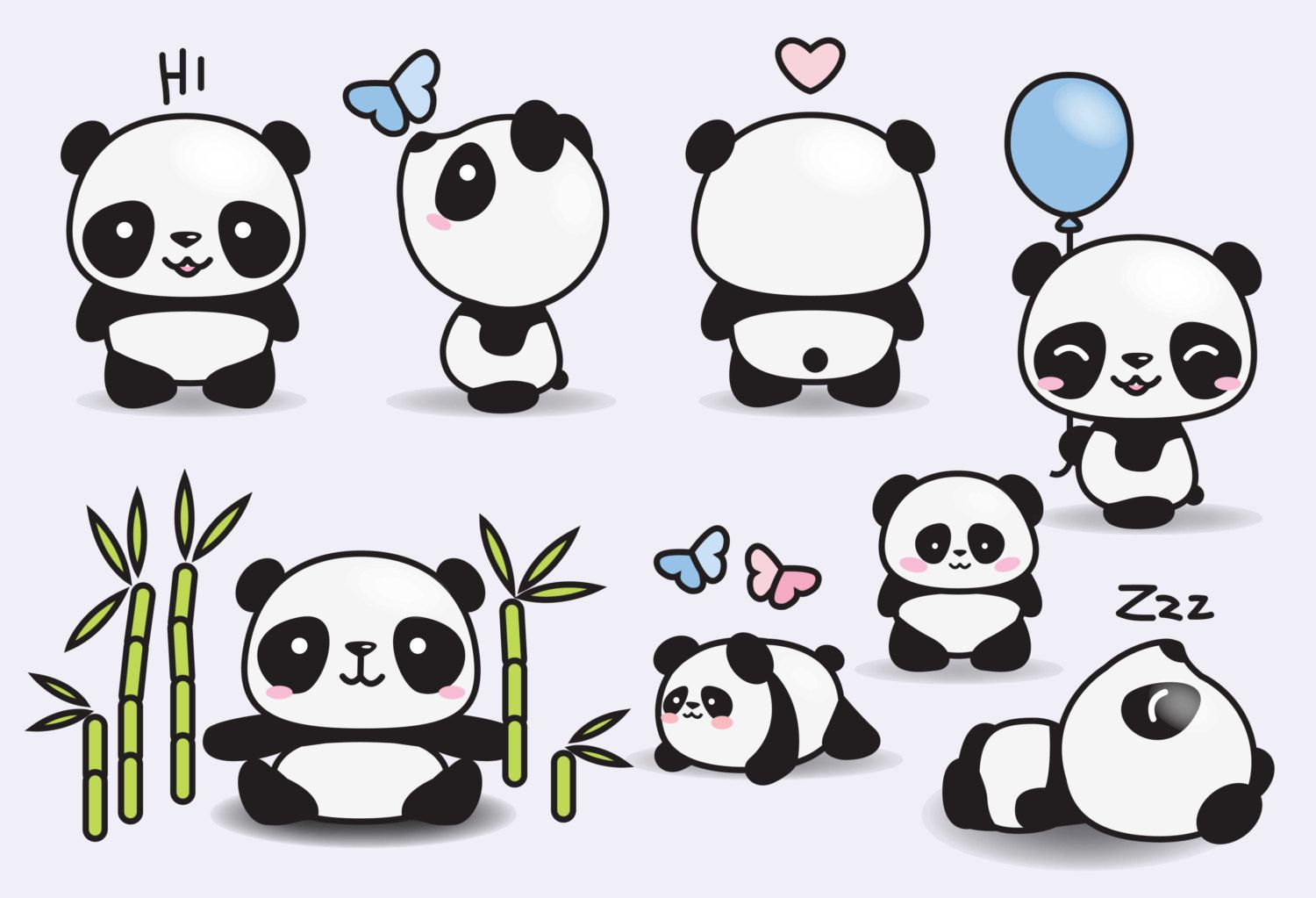 Premium Vector Clipart Kawaii Pandas Cute Pandas Clipart Set