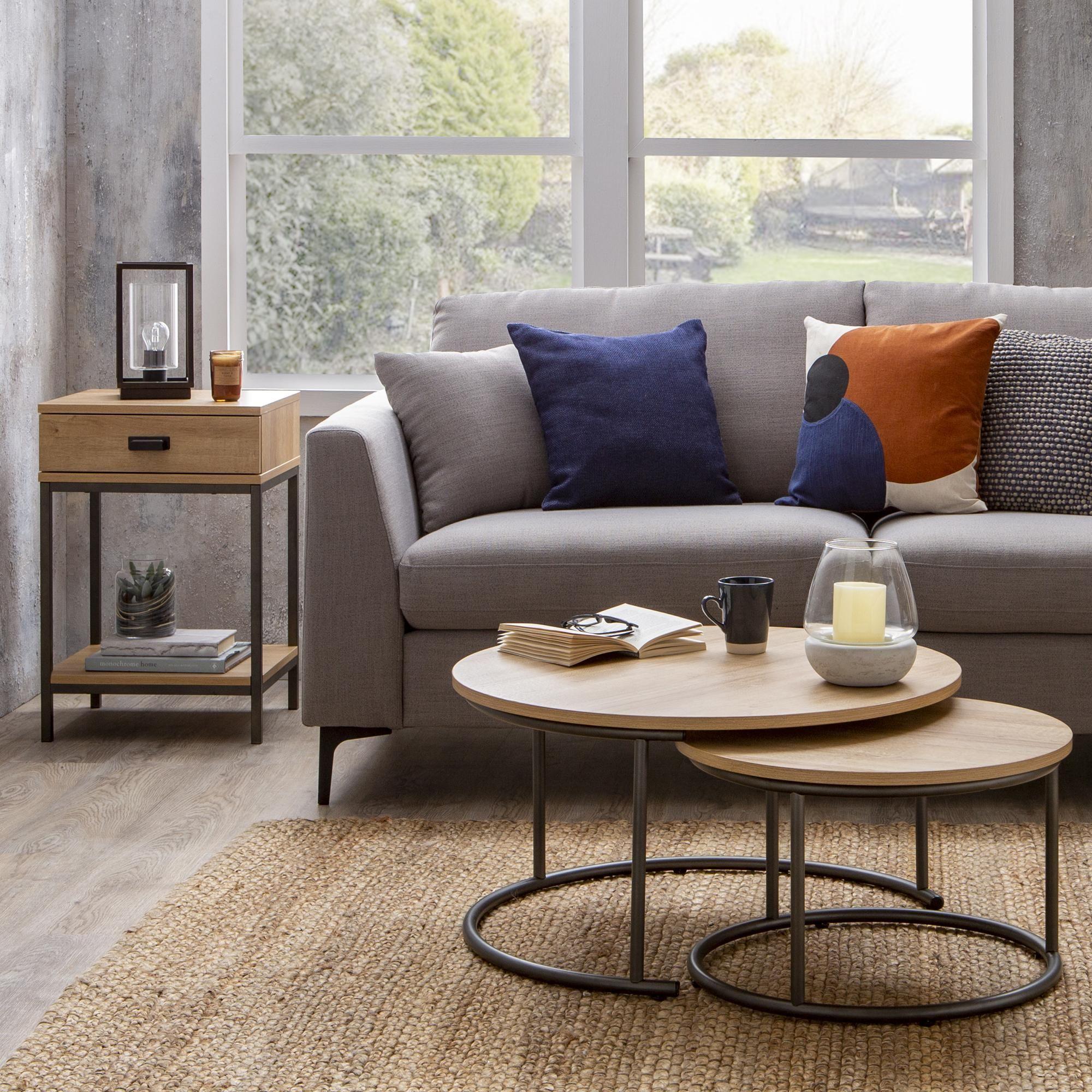 Fulton Oak Effect Set Of 2 Coffee Tables In 2020 Coffee Table Living Room Spaces Oak Side Table
