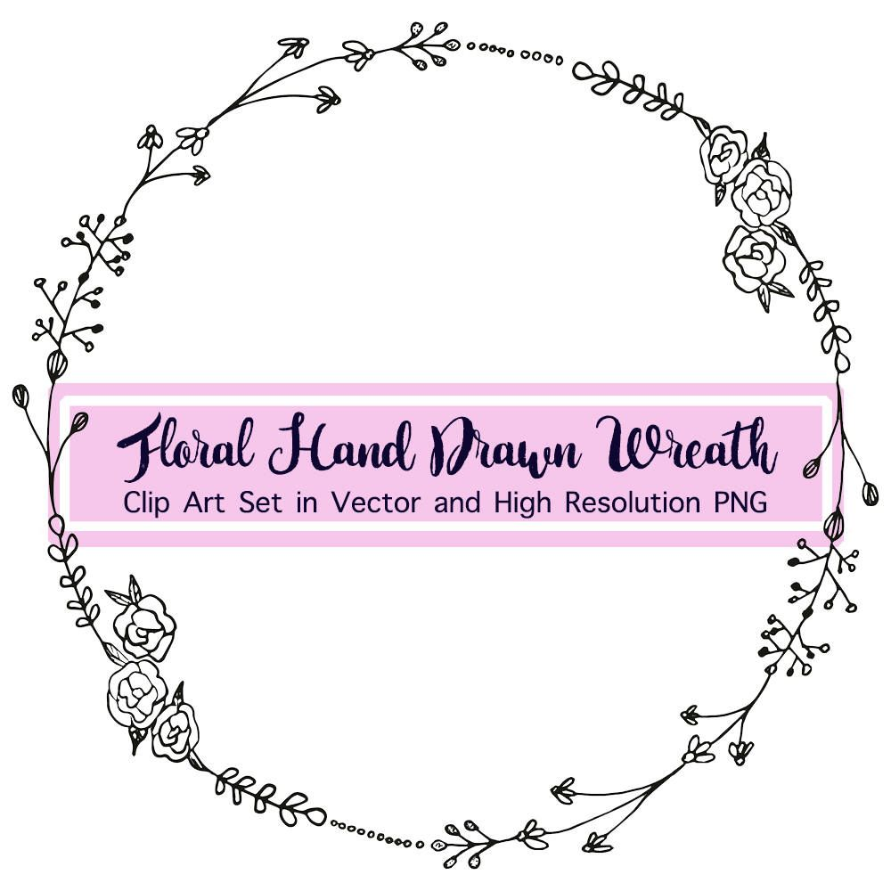 Black And White Floral Wreath Png Hand Drawn Floral Clipart Etsy Wreath Clip Art Wreath Drawing How To Draw Hands