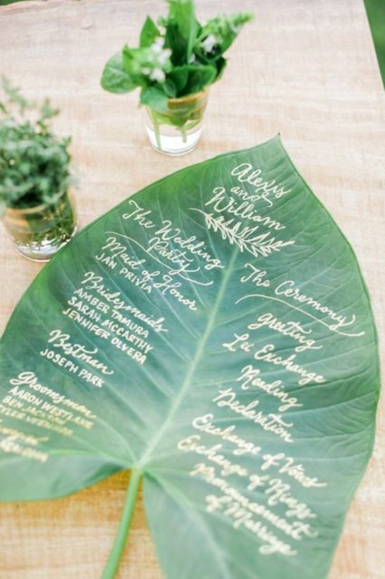 Tropische hochzeitspapeterie auf einem palmenblatt geeignet als tischdekoration menükarten oder einladungskarten für eure hochzeit