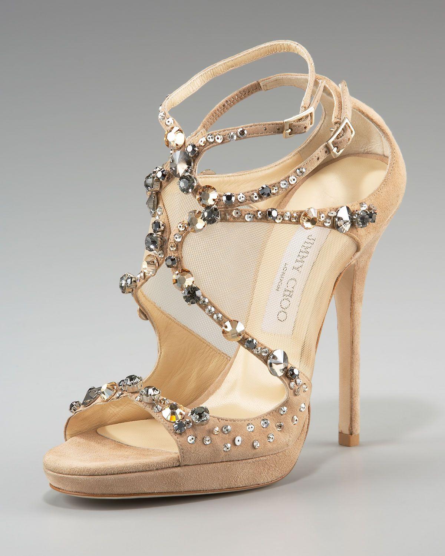 Jimmy Choo Viola Crystal-Set Suede Sandal