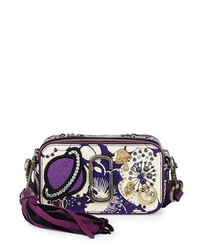 MARC JACOBS STAMPED FLORAL SNAPSHOT CROSSBODY BAG, PURPLE.  marcjacobs   bags  shoulder bags  leather  crossbody  lining   99ac936880
