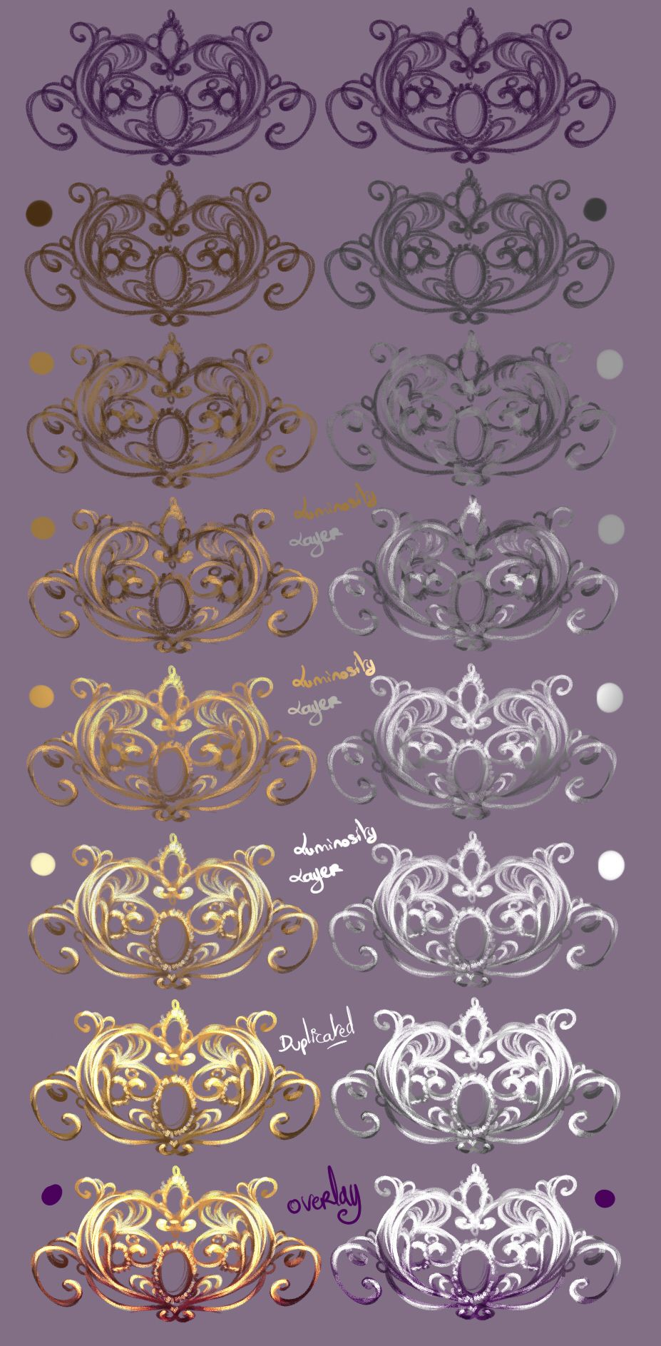 How I paint Jewelry GoldnSilver by rikadono tiara necklace