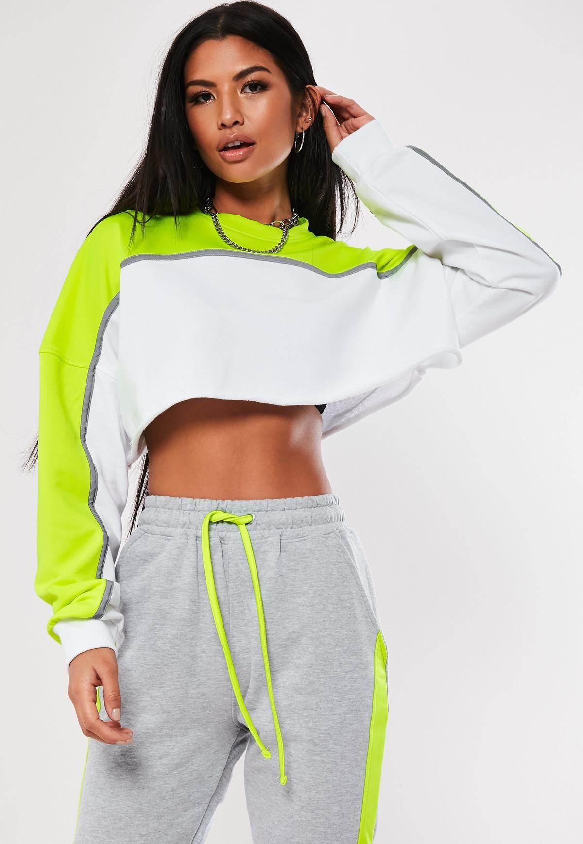 fc7cc97e847df4 Missguided - Lime Colourblock Reflective Crop Co Ord Sweatshirt in ...